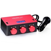 英才星 120W超强功率 独立开关 独立双USB 一分三点烟器 YC-434 亮彩红