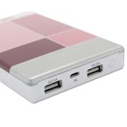 次世代 移动电源 方格镜面聚合物电芯手机平板移动电源充电宝 双USB接口 8000mAh 粉格子