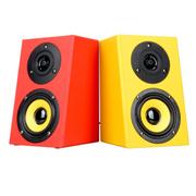 apphome A1台式电脑音响音箱低音炮 功放木质音箱高低音喇叭2.0有源多媒体音箱 红黄色