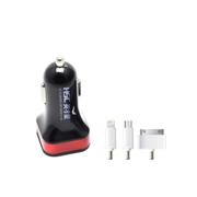 英才星 车载充电器 3.1A双USB多彩迷你万能充电器 158黑红