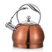 仁品 食品级不锈钢山姆烧水壶 鸣笛响音电磁炉煤气炉通用烧水壶 铜色3L