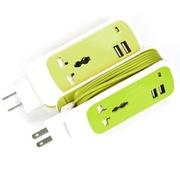 Capshi 苹果充电器/数据线 USB插线板 3合1充电器 三星小米手机平板通用 (绿)