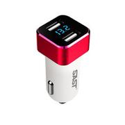 先科 T17可监测电瓶电压点烟器式平板手机USB车载充电器 雅致银
