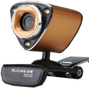 谷客 【高清带夜灯】高清摄像头带麦克风 台式电脑usb免驱视频 HD10 金色