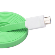 驰尚 驰尚 Micro USB接口面条式手机充电三星 小米 联想 诺基亚 华为 中兴手机数据线 绿线 一米