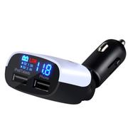 英才星 超大流量3.4A 双USB车载充电器 车充电压液晶显示测压预警