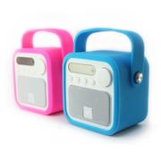 艾米尼 迷你便携式 插卡小音箱 低音炮 手机电脑音响 户外手提收音机老人 粉红色