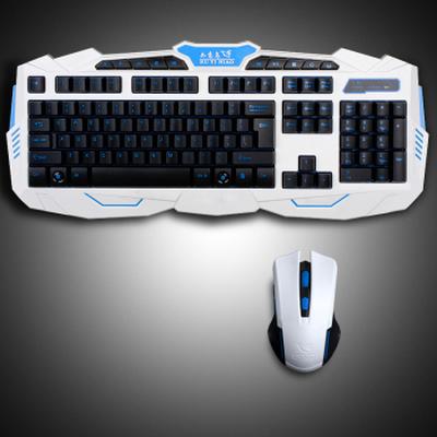 其他 如意鸟 无线键盘鼠标套装电视笔记本游戏无线键鼠套装 升级版 智能断电六键变速珍珠白产品图片1