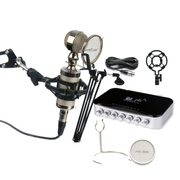 魅声 电脑网络录音家用K歌专用话筒声卡 YY喊麦主持卡拉OK 麦克风声卡套装 送悬臂支架