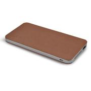 TXR 515真皮超薄三星苹果小米手机通用充电宝 10000毫安聚合物移动电源 冲电宝 沉稳褐 标配+充电头