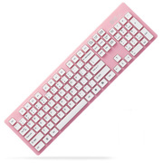 其他 富德无线键盘 游戏台式笔记本 单件装 外接键盘接收器 送电池 无线超薄键盘 无声静音粉色K3