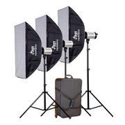 影光王 范特西数显面板影室闪光灯 三灯套装摄影棚服装 拍摄道具柔光箱套装 三灯1000W套装