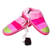 美创 插电电暖鞋 暖脚宝 保暖鞋 电热鞋保暖鞋 加热鞋 户外可行走 条纹红粉绿37-38
