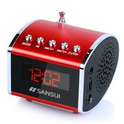 SANSUI d16便携音响插卡小音箱低音炮迷你音乐播放器随身听mp3老人收音机 银色