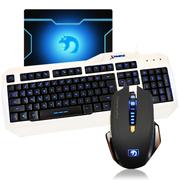 新盟 曼巴狂蛇7D宏定义鼠标 有线键盘套装 澳门金沙在线娱乐平台键鼠套装 LOL CF澳门金沙在线娱乐平台键鼠套 狂蛇黑+K18三色发光+垫