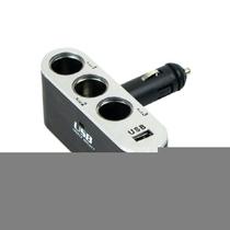 俊达 车用车载点烟器一分三一拖三充电器扩展转换插座带USB 电源 功能小件 V-B01产品图片主图
