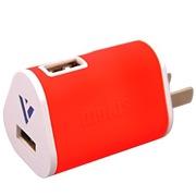 摩奇思 1.5A双USB口旅行充电器 红色