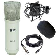 萌生 【支持京东配送】萌声BM700电脑网络K歌电容麦克风声卡录音设备套装话筒 银白色