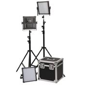 富莱仕 K4000S LED影视灯三灯套装led摄像灯套装微电影灯光摄影led外拍灯 含灯架版
