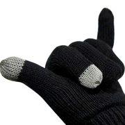 优胜仕 USAMS智能蓝牙接电话手套针织保温双层加厚触屏 黑色
