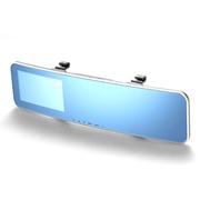 商佑 后视镜4.3寸行车记录仪 曲面高清广角夜视双镜头 标配+16G