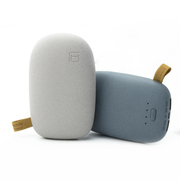 风彩 鹅卵石款双USB接口手机平板通用充电宝 足量10000毫安移动电源 米白