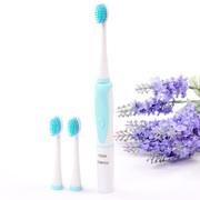 千百媚 DY-11正品儿童电动牙刷 超声波震动小孩宝宝自动牙刷软毛防水 3刷头 天蓝色
