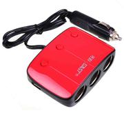先科 AY-T11车载一分三点烟器 双核带USB带开关 红色