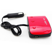 先科 一分三点烟器 usb转换器 车载充电器2a 红色