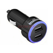 Movewell 车载充电器 双USB 2A  车充 黑色