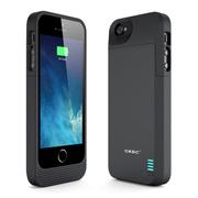 CRDC 苹果原装MFI认证背夹电池 移动电源充电宝 无线充 适用于iPhone5/5S 手机不能贴后膜 CRA5S-10 黑色