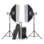 影光王 范特西数子显面板影室闪光灯 外拍灯 双灯服装拍照摄影棚铝箱套装 双灯600W套装