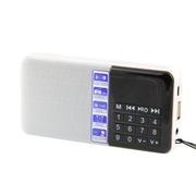 大米 SD-111迷你便携式插卡收音机1.2寸迷你播放机多功能插卡音箱七彩数字屏幕显示 白色