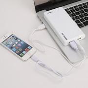 给力源 移动电源15000毫安特大容量 通用手机平板双USB带灯 货到付款 白色