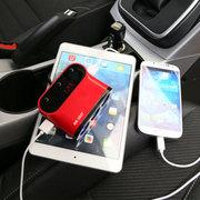 先科 AY-T12带开关一拖三点烟器一分三车载电源插座充电器 红色