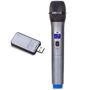 WSHDZ 山禾无线麦克风电脑k歌专用话筒 网络唱吧家用无线卡拉OK usb 电脑话筒声卡套 灰色