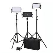 富莱仕 C300S摄影LED三灯套装微电影灯影棚灯 含灯架版