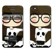 利乐普(LEAP) 苹果4s卡通图案彩膜 iphone4/4s屏保彩贴 手机保护膜高清彩膜 眼镜小希