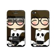 利乐普(LEAP) 苹果5s卡通图案彩膜 iphone5/5s屏保彩贴 手机保护膜高清彩膜 眼镜小希