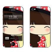 利乐普(LEAP) 苹果5s卡通图案彩膜 iphone5/5s屏保彩贴 手机保护膜高清彩膜 马尾小希
