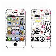 利乐普(LEAP) 苹果4s卡通图案彩膜 iphone4/4s屏保彩贴 手机保护膜高清彩膜 V字手花纹