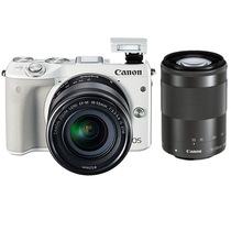 佳能 EOS M3(18-55mm f/3.5-5.6 IS STM、55-200mm f/4.5-6.3 IS STM)微型单电双头套机 白色产品图片主图