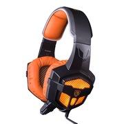 赛德斯 SA-806 头戴式 游戏耳机 发光耳麦 短麦(黑橙)