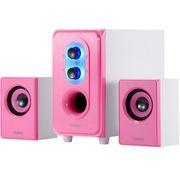 恩科 E50 笔记本电脑2.1组合音响低音炮 台式多媒体木质音箱 粉红色