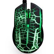 力胜 LS-G26炫光游戏鼠标 USB有线光学鼠标 一键DPI 熔岩裂纹灯光 绿色背光