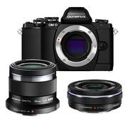 奥林巴斯  OM-D E-M10 微型单电人像双头套机(14-42mm电动镜头+45mmF/1.8人像镜头) 黑色