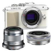 奥林巴斯 E-PL7(1442mm电动+45mm镜头)微型单电双头套机 白色【美拍亲子套装】