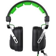 黑爵 AX300业游戏耳机 黑绿色 内置声卡 3D矢量头梁工艺 超强低音
