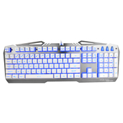狼派 G13 虚空战舰战舰银 七色背光游戏键盘防水金属机械手感