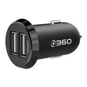 360 车载充电器 双口车充 智能保护 黑色